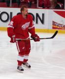 Tomas Holmstrom skates around during pregame warmups.