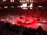 A view of the Joe Louis Arena ice, prepared for the ceremony for Steve Yzerman's number retirement.