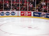 A view of the number 19 on the Joe Louis Arena boards as part of the ceremony for Steve Yzerman's number retirement.