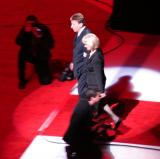 Team owners Mike and Marian Ilitch are introduced at the ceremony for Steve Yzerman's number retirement.