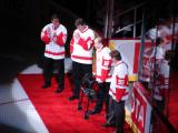 Steve Duchesne, Bob Probert and Larry Murphy are joined by Vladimir Konstantinov on the red carpet at the ceremony for Steve Yzerman's number retirement.