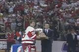 Mike Vernon is awarded the Conn Smythe Trophy as MVP of the 1997 Stanley Cup Playoffs.