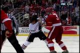 Andreas Lilja squares off with Chicago's Patrick Sharp.