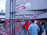 The exterior of the Gordie Howe Entrance to Joe Louis Arena, as seen after a playoff game.