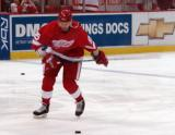 Danny Markov winds up for a shot during pregame warmups.