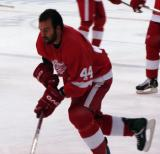 Todd Bertuzzi skates with the puck during pregame warmups.